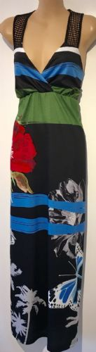 BLACK FLORAL PRINTED CROSS OVER MAXI DRESS BNWT SIZE S/M UK 10/12